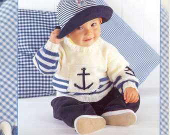 Baby/childs Double knitting Anchor sweater Pattern  PDF