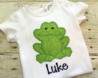 Toddler boy outfits - Frog shirt boys - Summer shirt for boys - Baby boy outfit - Embroidered baby clothes - Personalized boy shirt