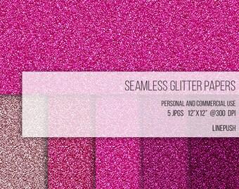SALE! Seamless glitter background. Digital paper. Pink glitter, sparkly layer. Royalty free. Fuschia glittler