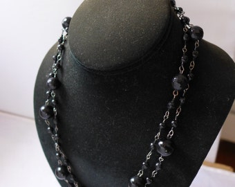 "Estate Black Bead  Victorian Style Long Necklace 43"" R"