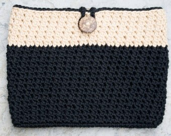 Black iPad Mini Tablet Case, Crochet Samsung Tab Cover,  eReader Cozy, Made in USA