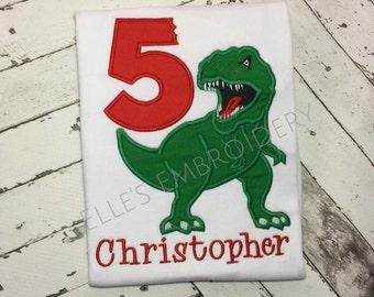 T Rex birthday shirt/ Personalized dinosaur party shirt/ T Rex applique party shirt
