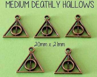 6 Medium Bronze Deathly Hallows | Triangle Charm Pendant | Harry Potter