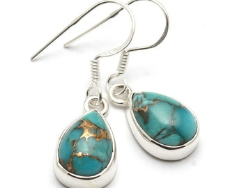 Copper Blue Turquoise Earrings, 925 Sterling Silver, Unique only 1 piece available! weight 3.3g, #44138