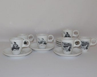 Levtov China Espresso Cups and Saucers Set of 6, Dinnerware, Kithenware, Coffee