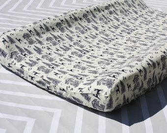 Woodland Nursery - Navy Blue Deer - Changing Pad Cover - Woodland Collection