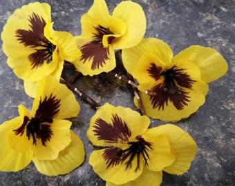 Yellow Pansy Bobby Pins