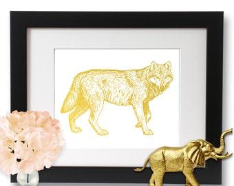 Gold Foil Print, Wolf Print, Wall Art, Wolf Art, Nature Gift Idea, forest creature art