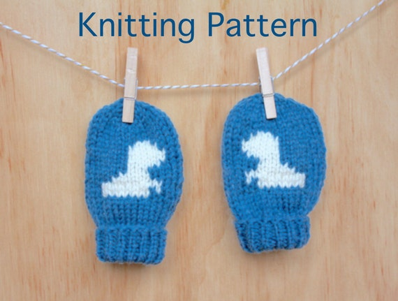 PDF - Baby Dinosaur Mittens - KNITTING PATTERN from LionAndTheSnail on Etsy S...