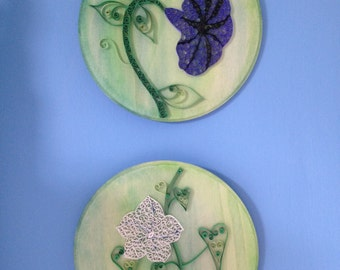 Handmade Quilled Paper Morning Glory and Moonflower- Watercolor on wood, 2 pieces