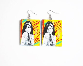 Amy, Amy Winehouse, retro, rockabilly, multi color, blue jean, abstract art earrings / Beehive Hair / RIP Amy Winehouse / Soul Singer