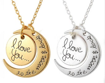 "Fashion Diy ""I Love You To The Moon And Back ""  Necklace"