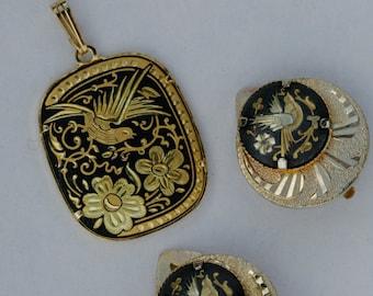 Damascene Gold Bird Necklace and Earring Set marked goldtone