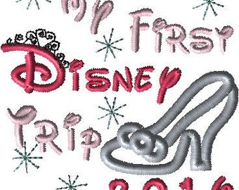 2016 Disney My Disney trip with Applique Cinderella Glass Slipper Machine Embroidery Design