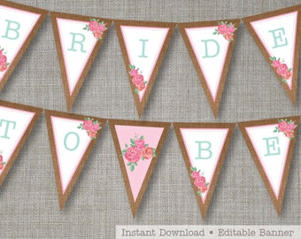 Shabby Chic Bridal Shower - Shabby Chic Banner - Shabby Chic Party Banner - Floral Banner - Edit, Print and Assemble yourself at home!