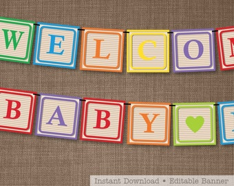Baby Shower Banner - Alphabet Blocks Banner - Bright Alphabet Blocks - Print and Assemble yourself at home!