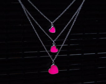Glowing Necklace Three Pink Hearts - Glow in the Dark Hearts - Glowing Jewelry - GLOW in the DARK - Glowing Pendant - Glowing Pink Hearts