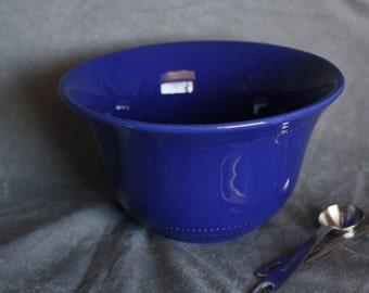 Hall Radiant Ware Cobalt Blue Bowl - Beautiful Blue Ceramic Mixing Bowl w/ Beaded Banding - Vintage Mixing Bowl - Retro Kitchen