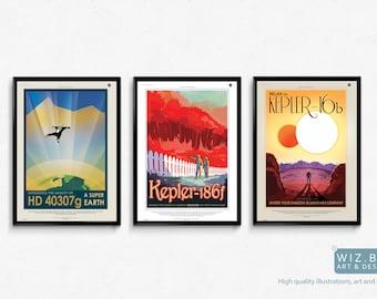 NASA Exoplanet Travel Prints/poster - 3 x High Quality A3 Prints