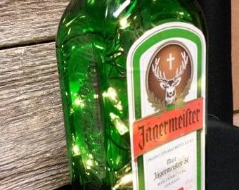 Recycled Jagermeister Liquor Bottle with string lights, Dorm Room Lamp, Bar Light, upcycle bottle, recycle liquor bottle