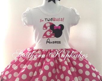 Minnie Mouse Inspired Twodles 2nd Birthday Twirl Dress Birthday Custom Boutique Pageant Party Handmade Pink White Black Polka Dots