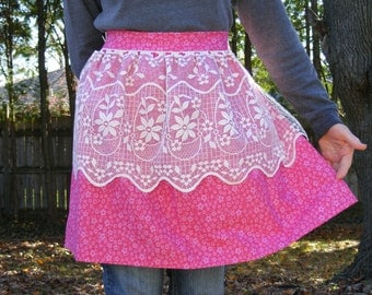 Apron 'Pretty in Pink' with Lace