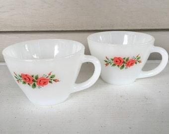 Set of 2 - Fire King #28 - Vinatge Tea Cups - Milk Glass - 1950's