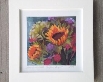Framed 6 x 6 Sunflower bouquet print