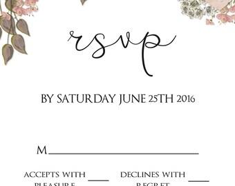 rsvp, rsvp download, rsvp template, wedding rsvp card, rsvp card, floral rsvp card, response card, wedding rsvp, wedding response card, rsvp