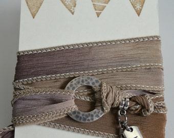 Silk Wrap Bracelet, Silk Wrap Yoga Bracelet, Yoga Wrap Bracelet, Silk wrap charm bracelet, Gypsy Silk Wrap Bracelet