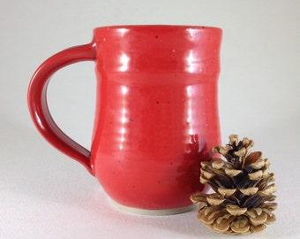Large Handmade Red Ceramic Mug, Wheel Thrown Mug, Red Mug