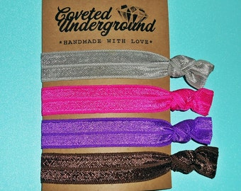 Beautiful Contrast Hair Ties   Get FREE Domestic SHIPPING   Grey, Hot Pink, Purple & Brown