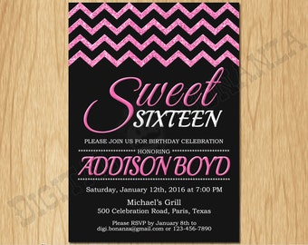 Sweet 16th Birthday Invitation Sixteen Black Pink Glitter Birthday Party Invite Teen Surprise Birthday Printable F16-002pi