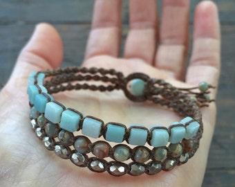 Beach Bracelet - Blue Macrame Bracelet - Ocean Bracelet - Triple Wrap Bracelet - Macrame Jewelry - Beachy Bracelet - Boho Bracelet