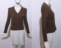 70s Oscar de la Renta knit cardigan mouse brown button down textured knitted knitwear sweater feminine timeless chic office S M