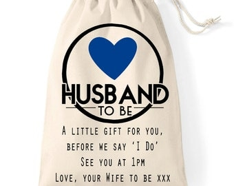 Wedding day Husband to be personalised gift bag | A gift bag for your groom | Cotton bag with navy heart design.