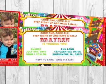 Personalized Carnival Themed Printable Birthday Invitation