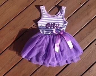 First Birthday Dress - purple tutu dress
