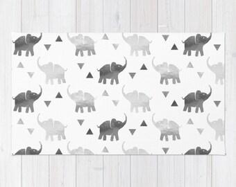 Woven Rug - Elephants & Triangles Print - Silver - 2'x3' 3'x5' or 4'x6' - Bedroom Nursery Living Room