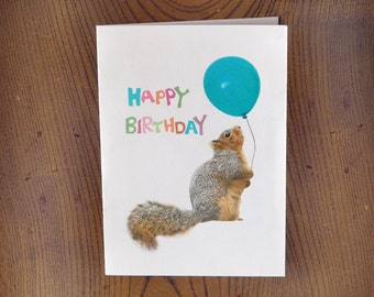 Fat Squirrel with Balloon Printable Birthday Card