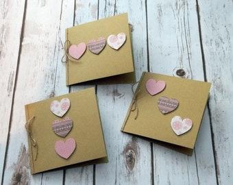 Set of 3 Handmade Rustic Kraft Cards - Blank Cards - Notecards - Shabby Chic
