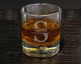 Bryne -  Personalized Hand Blown Rocks Whiskey Glass - Oakmont Design - Initial with Last Name
