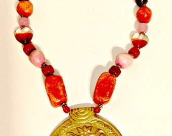 Necklace,Stunning Coral Medallion,Vintage Glass Beads,Frida Kahlo like Designs,Jewelry,Holiday Gift, GIft for Women