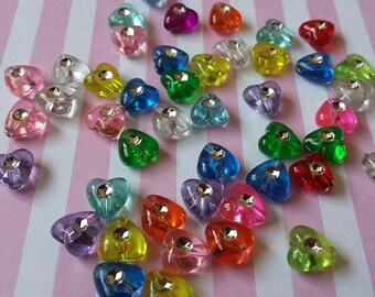 MIxed studded heart beads, 8mm, Transparent, Acrylic, Multicoloured, Pack of 100 - B2i