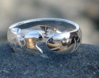 Fish Ring, Salmon Ring, Herring Ring, Silver Fish Ring, Sterling Silver