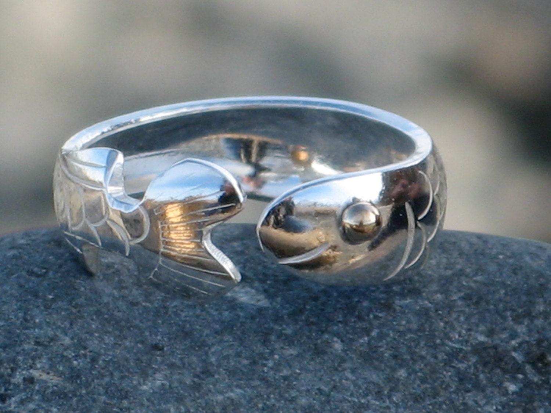 fish ring salmon ring herring ring silver fish ring