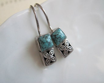Sterling Silver Drop Earrings, Vintage Sterling Silver Turquoise Earrings, Small Drop Earrings