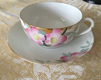 Vintage NORITAKE china tea coffee cup & saucer AZALEA Pattern Handpainted Green Mark 19322
