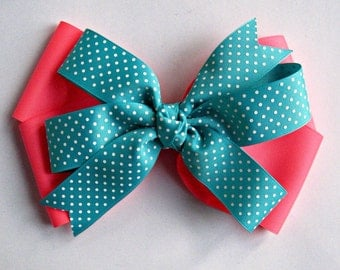 X-Large Stacked Boutique Bow   Mega Neon Hairbow for Girls