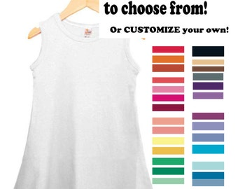 Hand dyed solid color infant sleeveless tank dress; Solid color custom tank dress for girls; Girls custom color Summer Dress; Play Dress